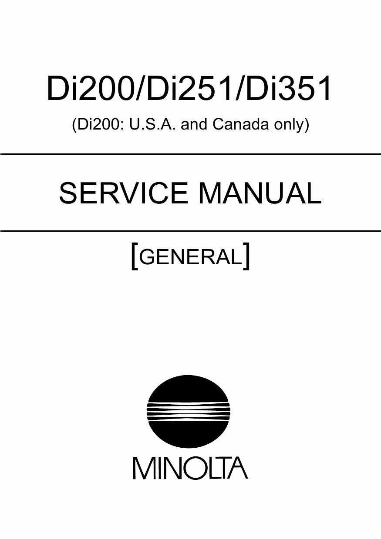 Konica Minolta Minolta Di200 Di251 Di351 General Service border=